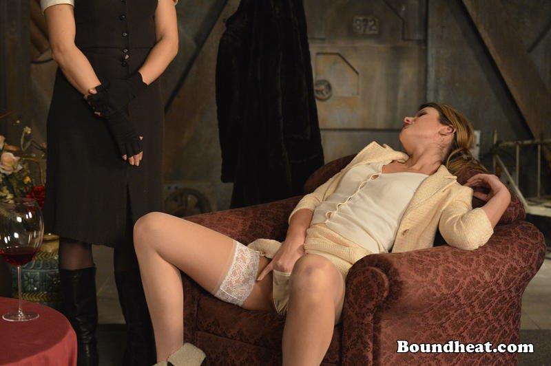 lesbian mistress masturbates inserts fingers into panties while french maid watches