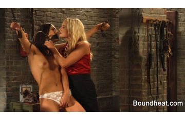 Domination of Chained Gagged Nude Teen Slave by Lesbian Mistress with Whip